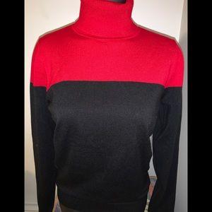 Calvin Klein Red and Black Turtleneck
